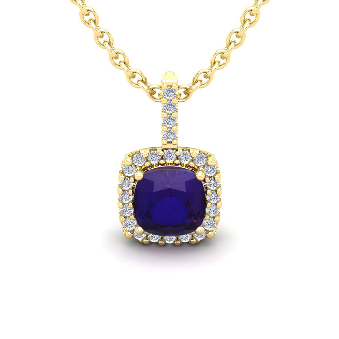 1 Carat Cushion Cut Amethyst And Halo Diamond Necklace In 14 Karat Yellow Gold, 18 Inches