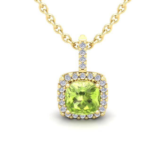 1 1/4 Carat Cushion Cut Peridot and Halo Diamond Necklace In 14 Karat Yellow..