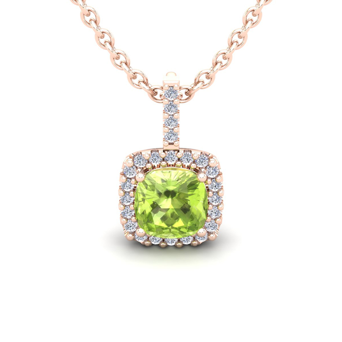 1 1/4 Carat Cushion Cut Peridot And Halo Diamond Necklace In 14 Karat Rose Gold, 18 Inches