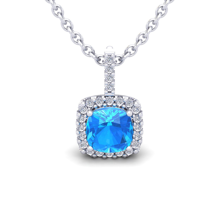 1 1/4 Carat Cushion Cut Blue Topaz and Halo Diamond Necklace In 14 Karat Whi..