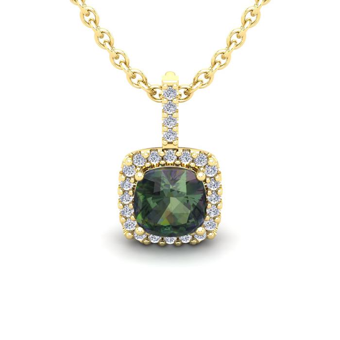 1 1/3 Carat Cushion Cut Mystic Topaz and Halo Diamond Necklace In 14 Karat Y..