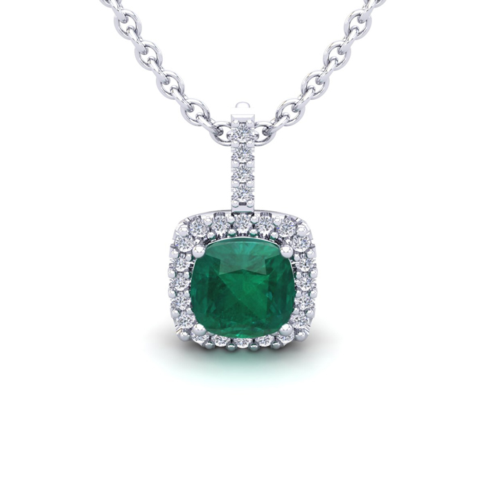 1 1/4 Carat Cushion Cut Emerald And Halo Diamond Necklace In 14 Karat White Gold, 18 Inches