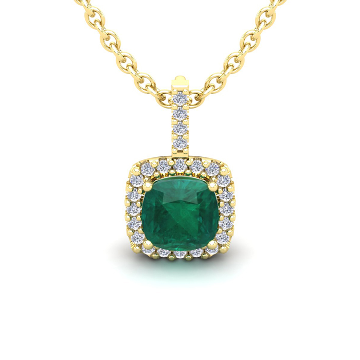 1 1/4 Carat Cushion Cut Emerald And Halo Diamond Necklace In 14 Karat Yellow Gold, 18 Inches