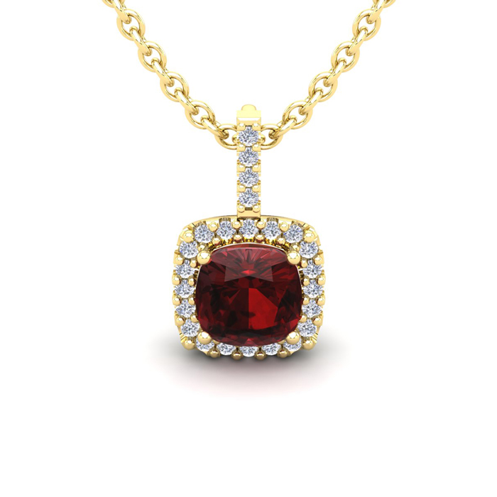 1 1/4 Carat Cushion Cut Garnet And Halo Diamond Necklace In 14 Karat Yellow Gold, 18 Inches