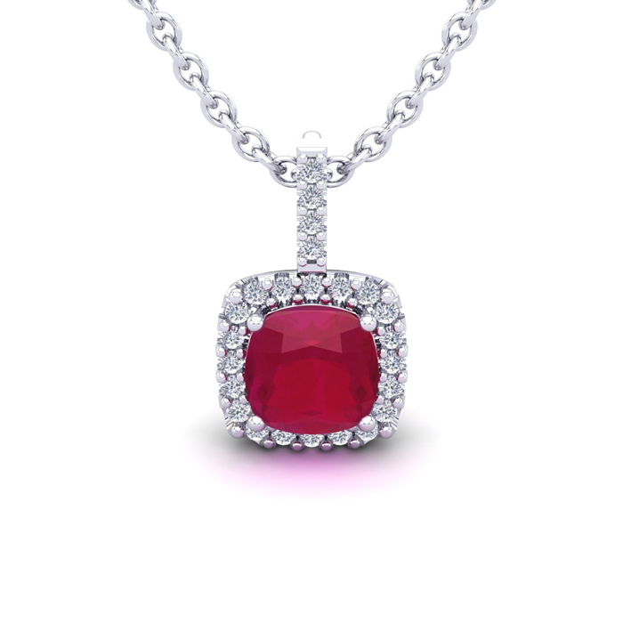 1 1/2 Carat Cushion Cut Ruby And Halo Diamond Necklace In 14 Karat White Gold, 18 Inches