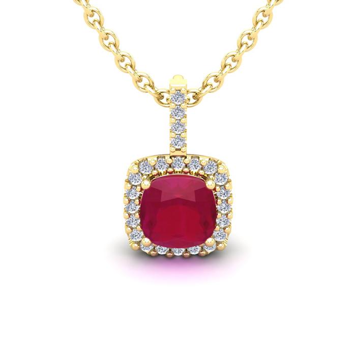 1 1/2 Carat Cushion Cut Ruby and Halo Diamond Necklace In 14 Karat Yellow Go..