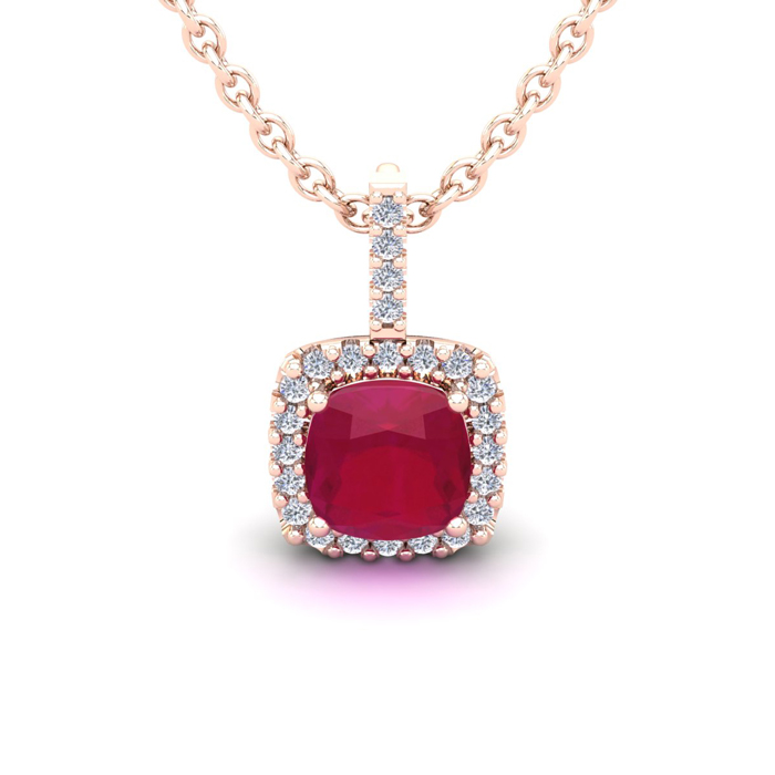 1 1/2 Carat Cushion Cut Ruby and Halo Diamond Necklace In 14 Karat Rose Gold..