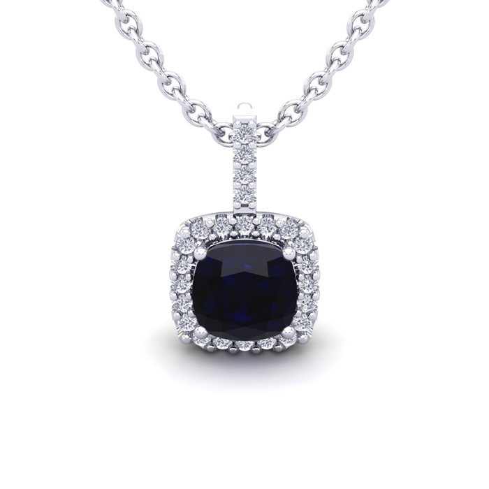 1 1/4 Carat Cushion Cut Sapphire And Halo Diamond Necklace In 14 Karat White Gold, 18 Inches