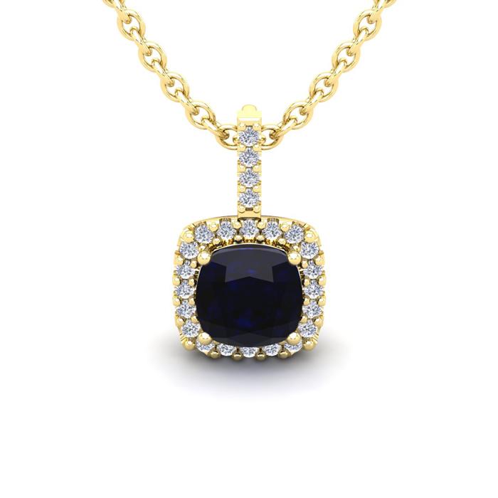 1 1/4 Carat Cushion Cut Sapphire and Halo Diamond Necklace In 14 Karat Yello..
