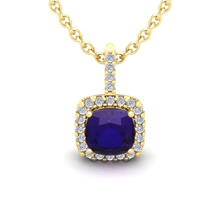 1 3/4 Carat Cushion Cut Amethyst and Halo Diamond Necklace In 14 Karat Yello..