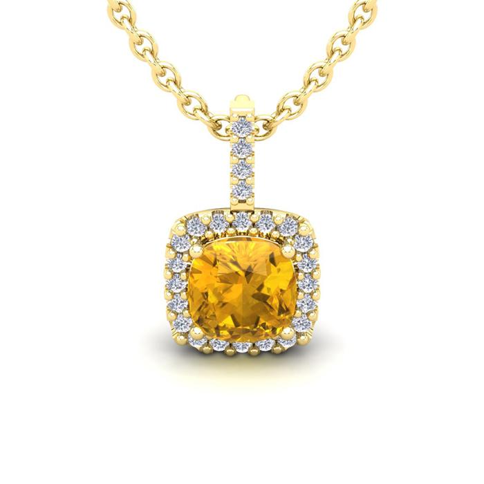 1 3/4 Carat Cushion Cut Citrine and Halo Diamond Necklace In 14 Karat Yellow..