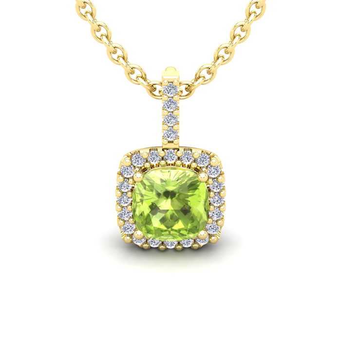 1 3/4 Carat Cushion Cut Peridot And Halo Diamond Necklace In 14 Karat Yellow Gold, 18 Inches