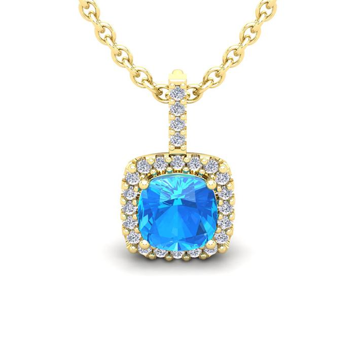 2 Carat Cushion Cut Blue Topaz and Halo Diamond Necklace In 14 Karat Yellow ..
