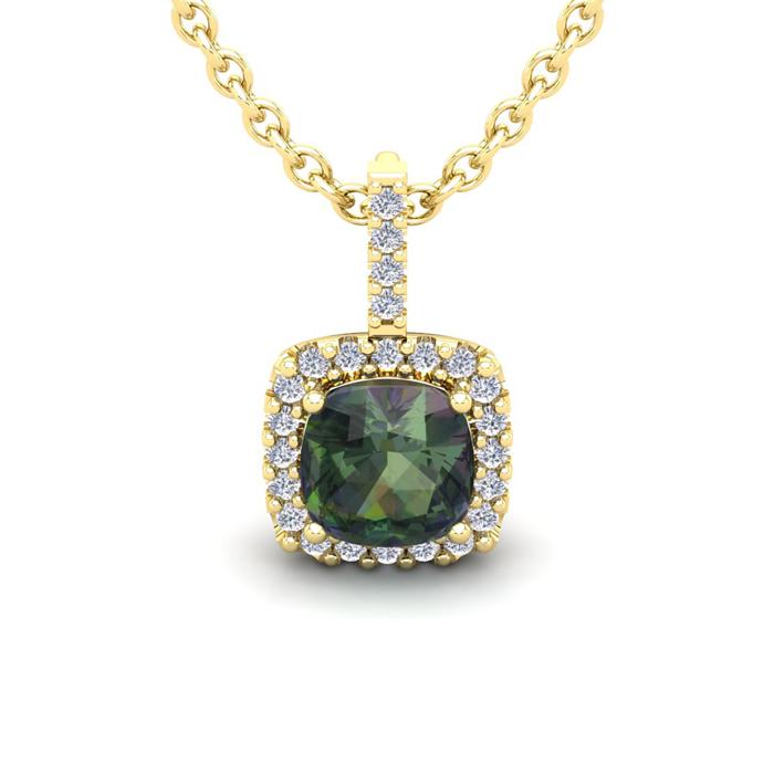 2 Carat Cushion Cut Mystic Topaz and Halo Diamond Necklace In 14 Karat Yello..