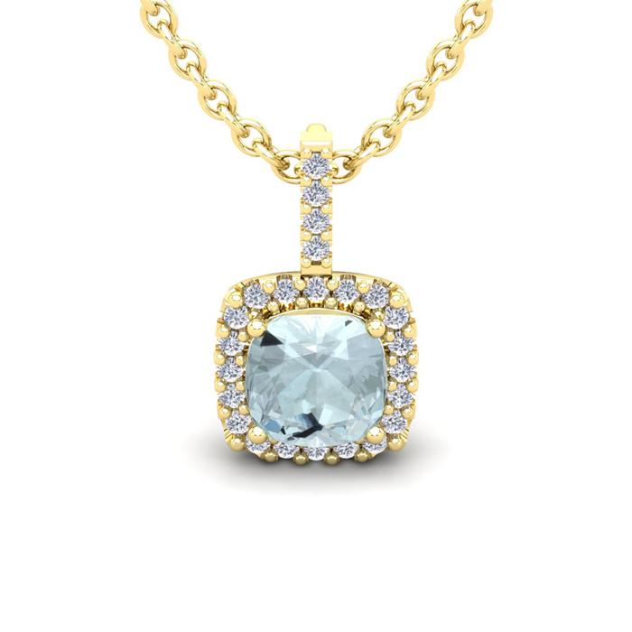 1 3/4 Carat Cushion Cut Aquamarine and Halo Diamond Necklace In 14 Karat Yel..