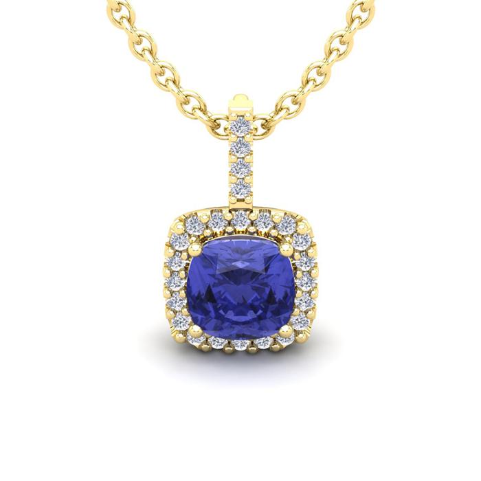 1 3/4 Carat Cushion Cut Tanzanite and Halo Diamond Necklace In 14 Karat Yell..