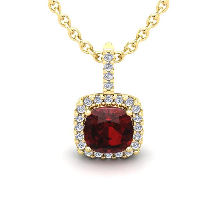 1 3/4 Carat Cushion Cut Garnet and Halo Diamond Necklace In 14 Karat Yellow ..