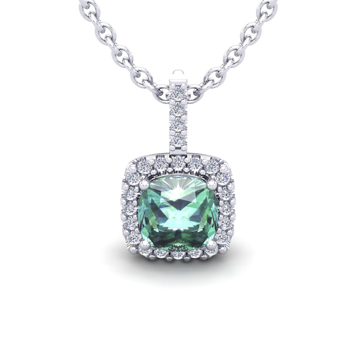 1 1/2 Carat Cushion Cut Green Amethyst and Halo Diamond Necklace In 14 Karat..