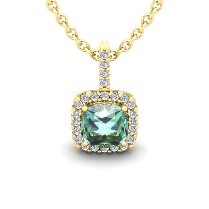 1 1/2 Carat Cushion Cut Green Amethyst and Halo Diamond Necklace In 14 Karat..