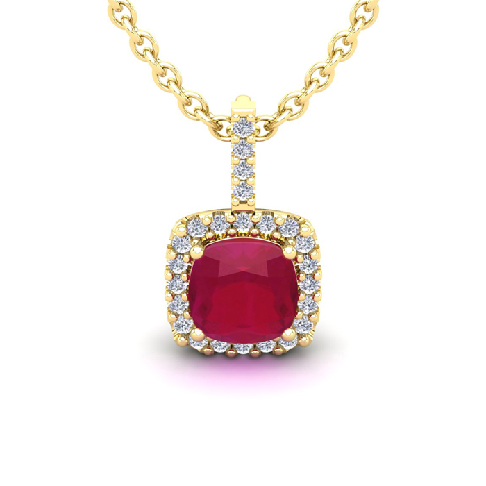 2 Carat Cushion Cut Ruby and Halo Diamond Necklace In 14 Karat Yellow Gold, ..