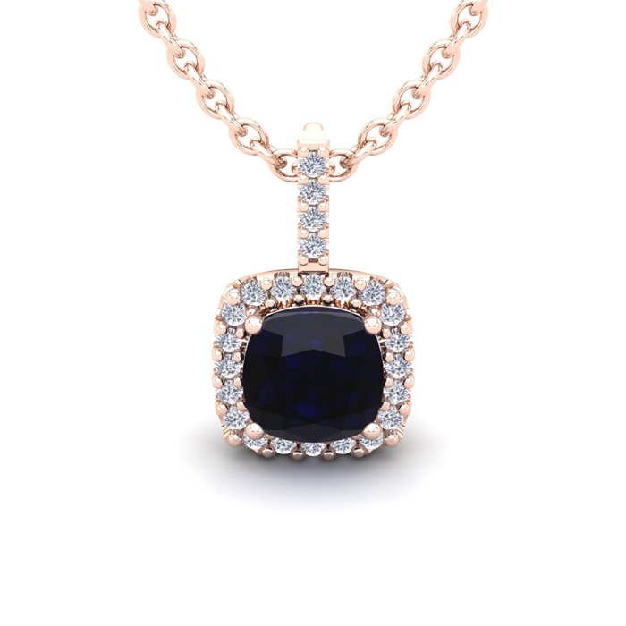 2 Carat Cushion Cut Sapphire And Halo Diamond Necklace In 14 Karat Rose Gold, 18 Inches