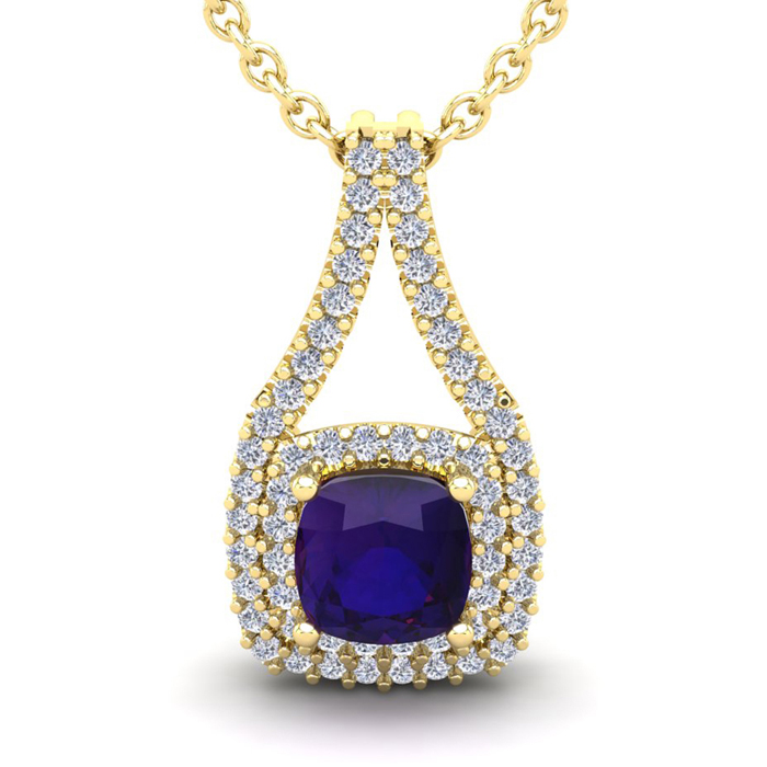 1 Carat Cushion Cut Amethyst and Double Halo Diamond Necklace In 14 Karat Ye..