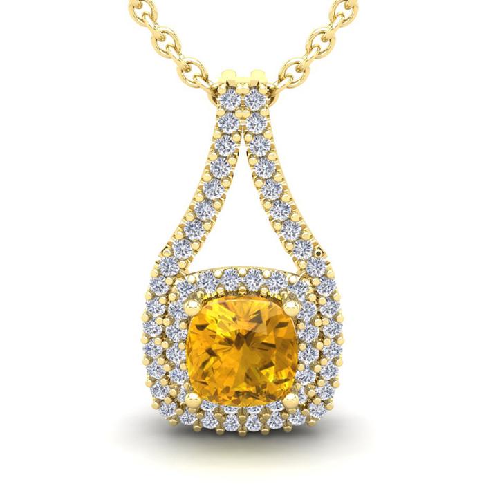 1 Carat Cushion Cut Citrine and Double Halo Diamond Necklace In 14 Karat Yel..