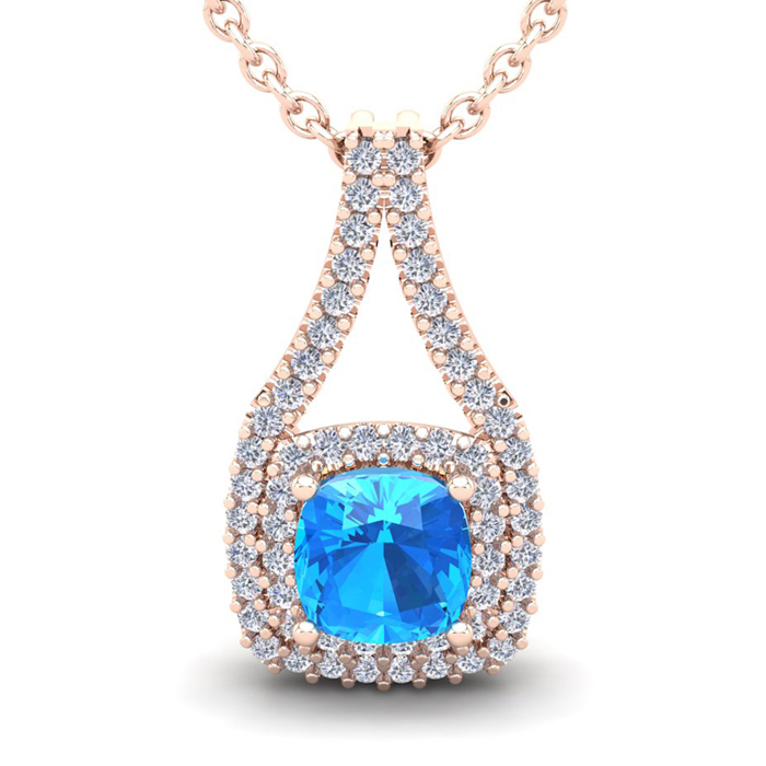 1 1/2 Carat Cushion Cut Blue Topaz and Double Halo Diamond Necklace In 14 Ka..