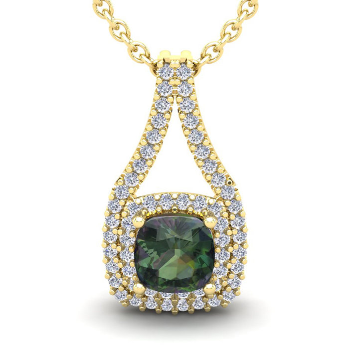 1 1/3 Carat Cushion Cut Mystic Topaz and Double Halo Diamond Necklace In 14 ..