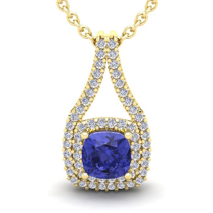1 1/3 Carat Cushion Cut Tanzanite and Double Halo Diamond Necklace In 14 Kar..