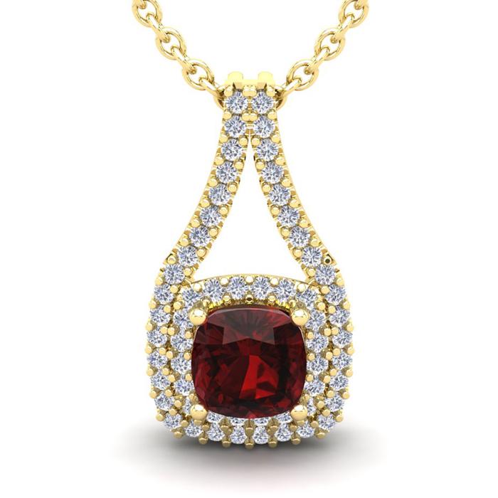 1 1/2 Carat Cushion Cut Garnet and Double Halo Diamond Necklace In 14 Karat ..