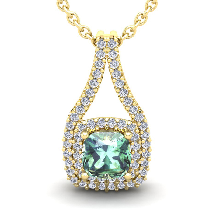 1 Carat Cushion Cut Green Amethyst and Double Halo Diamond Necklace In 14 Ka..