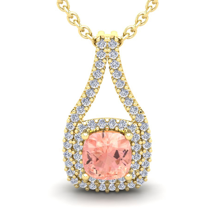 1 1/4 Carat Cushion Cut Morganite and Double Halo Diamond Necklace In 14 Kar..