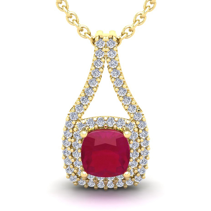 1 3/4 Carat Cushion Cut Ruby and Double Halo Diamond Necklace In 14 Karat Ye..