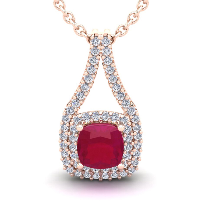 1 3/4 Carat Cushion Cut Ruby And Double Halo Diamond Necklace In 14 Karat Rose Gold, 18 Inches