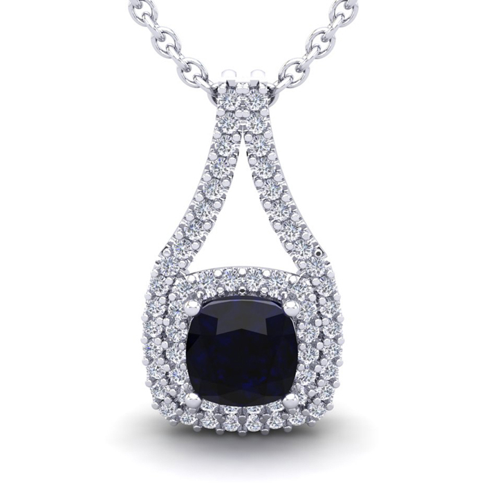 1 1/3 Carat Cushion Cut Sapphire And Double Halo Diamond Necklace In 14 Karat White Gold, 18 Inches