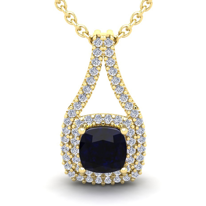 1 1/3 Carat Cushion Cut Sapphire and Double Halo Diamond Necklace In 14 Kara..