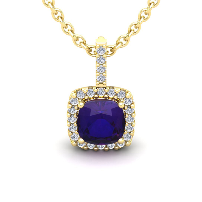 2 1/2 Carat Cushion Cut Amethyst And Halo Diamond Necklace In 14 Karat Yellow Gold, 18 Inches