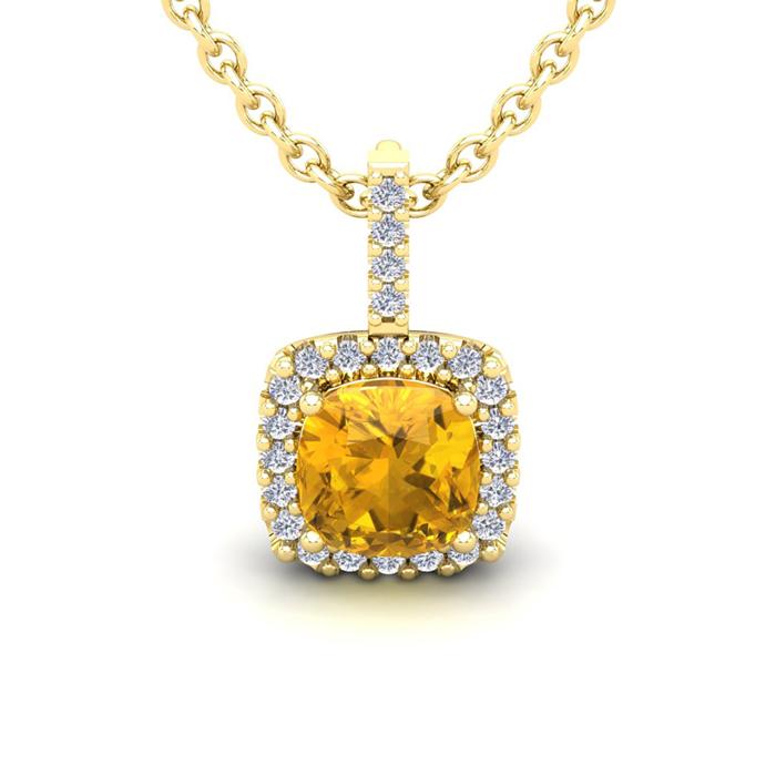 2 1/2 Carat Cushion Cut Citrine and Halo Diamond Necklace In 14 Karat Yellow..
