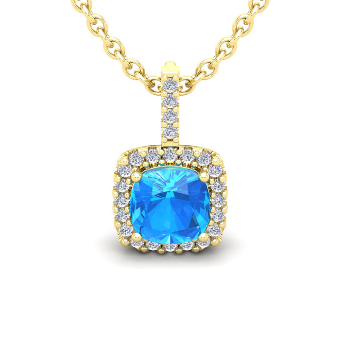 3 Carat Cushion Cut Blue Topaz and Halo Diamond Necklace In 14 Karat Yellow ..
