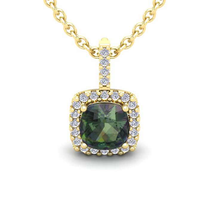 2 1/2 Carat Cushion Cut Mystic Topaz and Halo Diamond Necklace In 14 Karat Y..