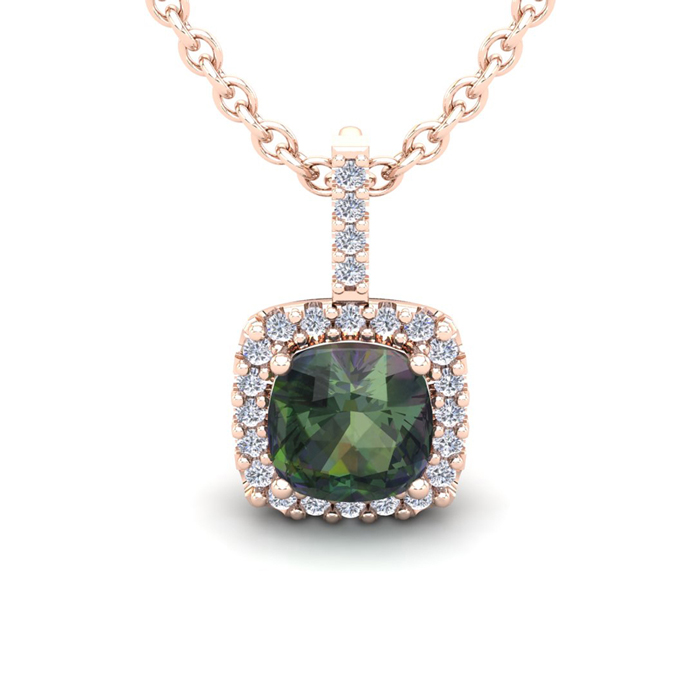2 1/2 Carat Cushion Cut Mystic Topaz And Halo Diamond Necklace In 14 Karat Rose Gold, 18 Inches