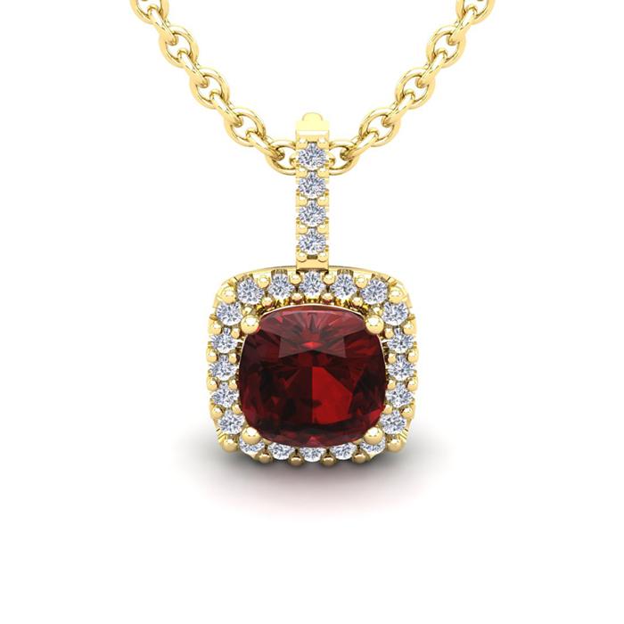3 1/2 Carat Cushion Cut Garnet and Halo Diamond Necklace In 14 Karat Yellow ..