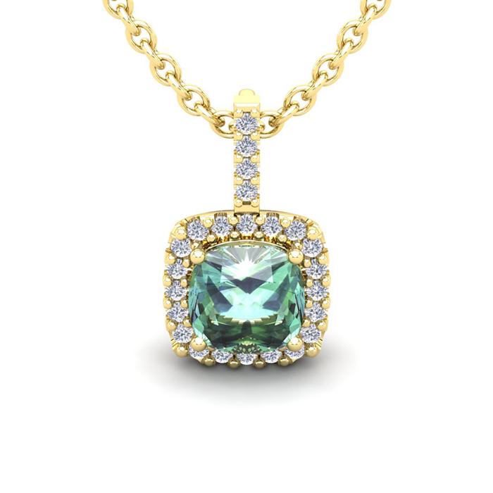 2 1/2 Carat Cushion Cut Green Amethyst and Halo Diamond Necklace In 14 Karat..