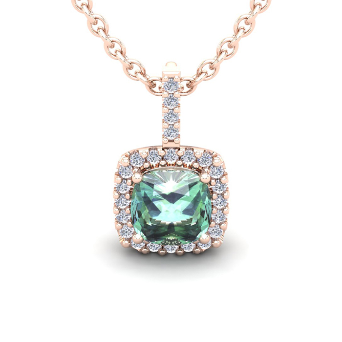 2 1/2 Carat Cushion Cut Green Amethyst and Halo Diamond Necklace In 14 Karat..