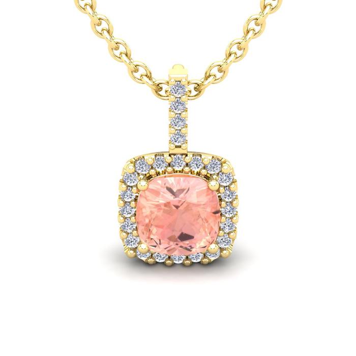 3 1/2 Carat Cushion Cut Morganite and Halo Diamond Necklace In 14 Karat Yell..