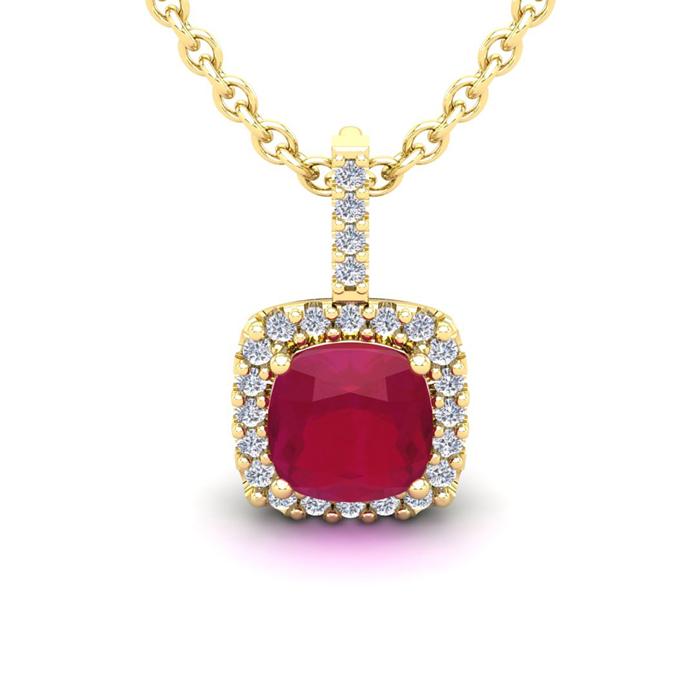 3 1/2 Carat Cushion Cut Ruby and Halo Diamond Necklace In 14 Karat Yellow Go..