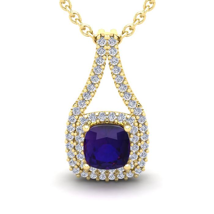 2 Carat Cushion Cut Amethyst and Double Halo Diamond Necklace In 14 Karat Ye..