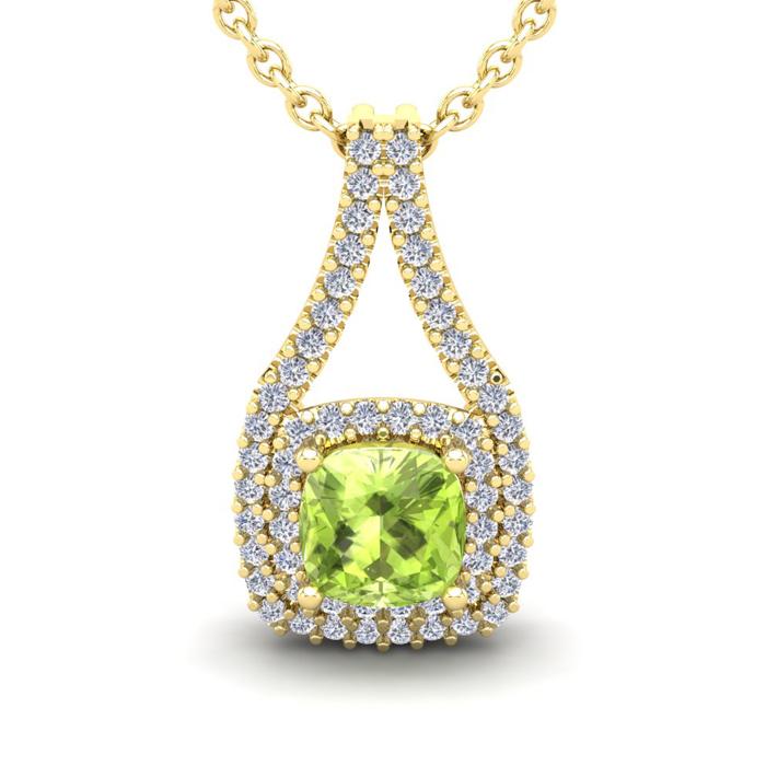 2 Carat Cushion Cut Peridot and Double Halo Diamond Necklace In 14 Karat Yel..