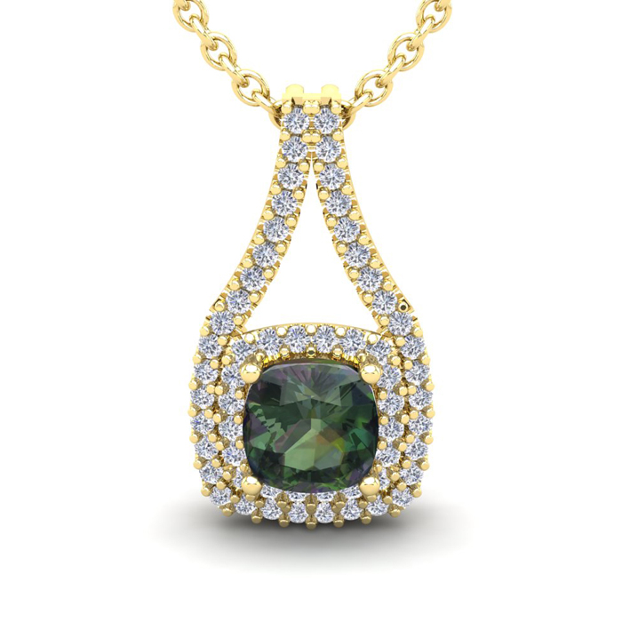 2 1/3 Carat Cushion Cut Mystic Topaz and Double Halo Diamond Necklace In 14 ..